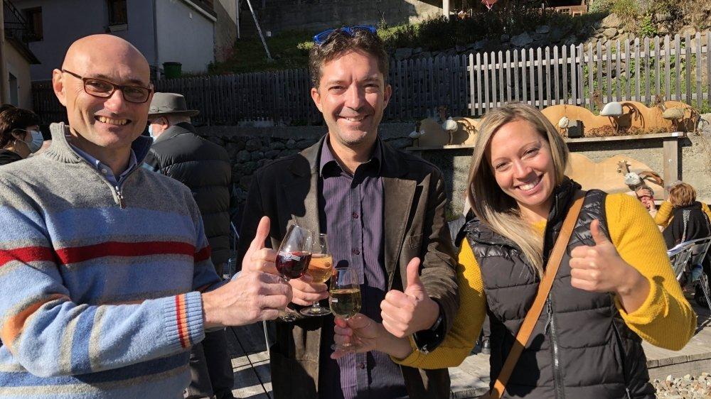 Les vainqueurs à Finhaut: Andrea Ridolfi, Romain Fournier et Caroline Huguenin (de g. à dr.)