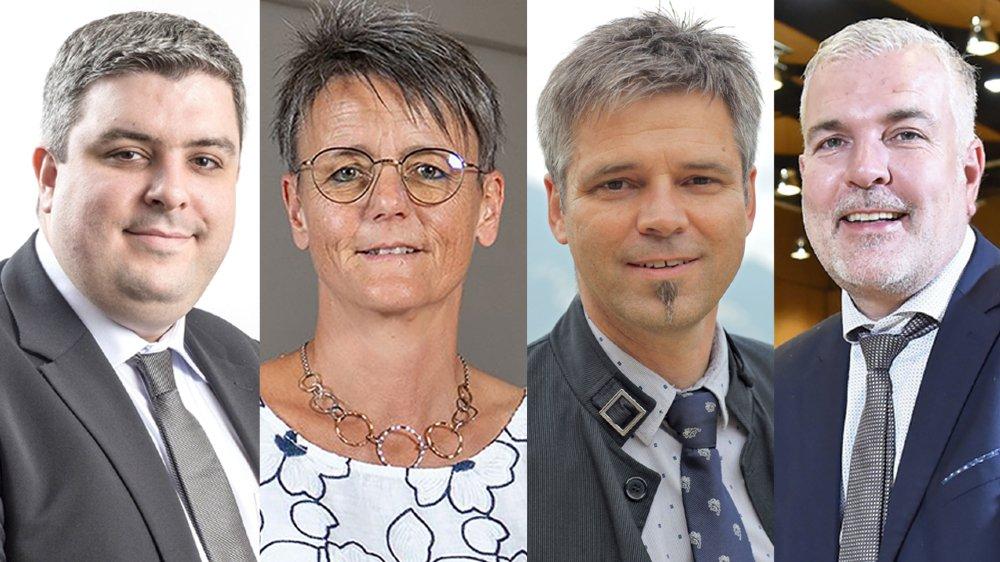 Qui sera le nouveau président de Collombey-Muraz entre Mikaël Vieux, Sandra Cottet Parvex, Alexis Turin et Olivier Turin (de gauche à droite)?