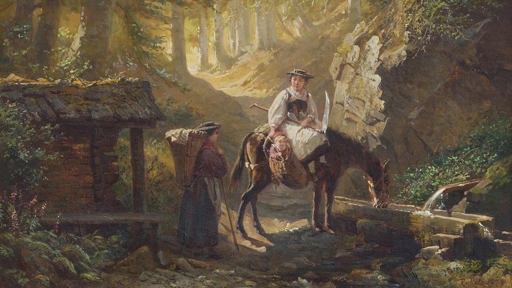 """Raphaël Ritz, """"Rencontre en forêt"""", 1879."""