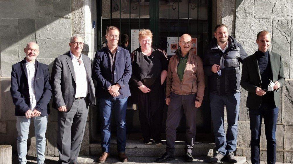 Les nouveaux élus de Salvan. De gauche à droite: Jean-Luc Rahir, Graf Vicky, Yvan Crittin, Michèle Gay, Roland Eberle, Michaël Jacquier et Florian Piasenta.