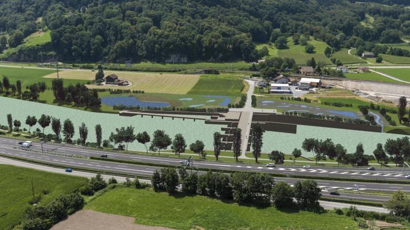 Le photomontage de BMR SA des aménagements prévus à la hauteur de la colline de Chiètres.