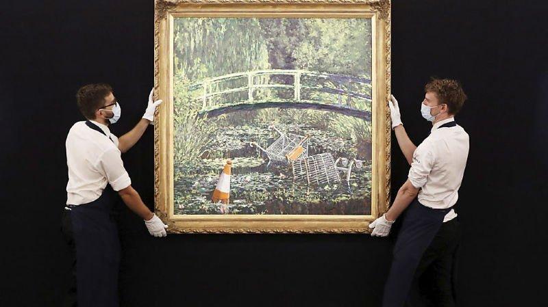"""Le tableau de Banksy """"Show me the Monet"""" parodie les Nymphéas de Claude Monet (archives)."""