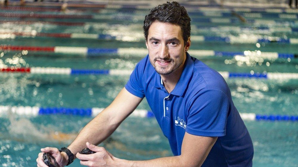 Benjamin Stasiulis donne désormais le tempo pour les athlètes du Cercle des Nageurs de Sion depuis juillet 2019.