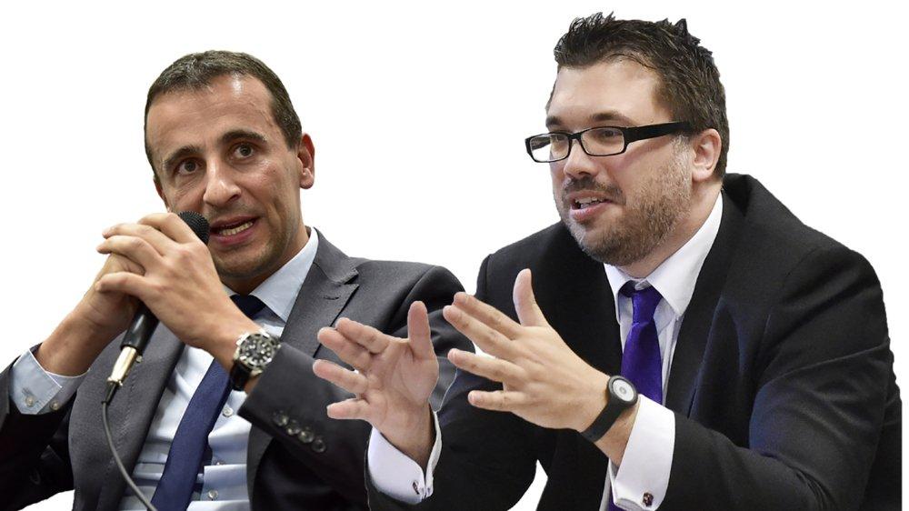 Le conseiller national Sidney Kamerzin (PDC) et le député et secrétaire général de l'UDCVr Jérôme Desmeules croisent le fer sur l'initiative pour des multinationales responsables soumise au peuple le 29 novembre prochain.