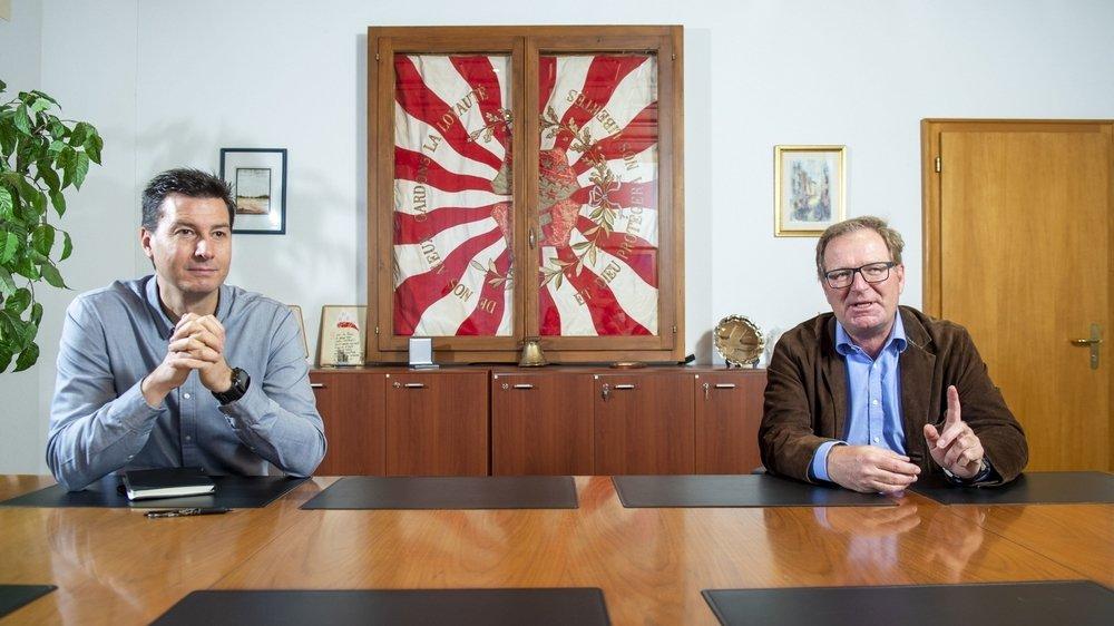 Jean-Philippe Borgeaud (PDC) et Jacques Berra (PDC) sont tous les deux candidats à la présidence de Champéry.
