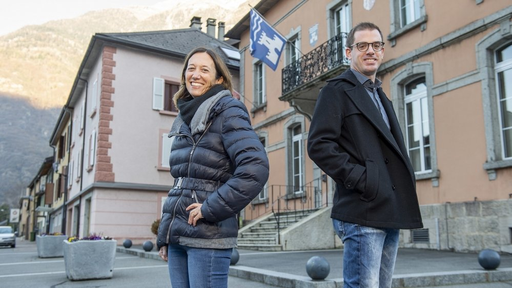 Valérie Santacroce-Tacchini (PS) et Damien Rappaz (PLR) sont tous deux candidats à la présidence d'Evionnaz.
