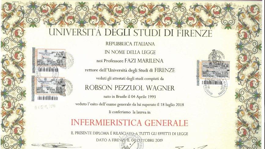 Le faux diplôme, dont le titre n'existe tout simplement pas à Florence.