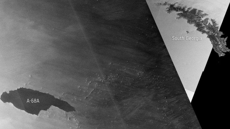 L'Agence spatiale européenne doit positionner ses satellites régulièrement et programmer des clichés. On peut constater ainsi qu'A68 n'est plus très loin des côtes de l'île de Géorgie du Sud.