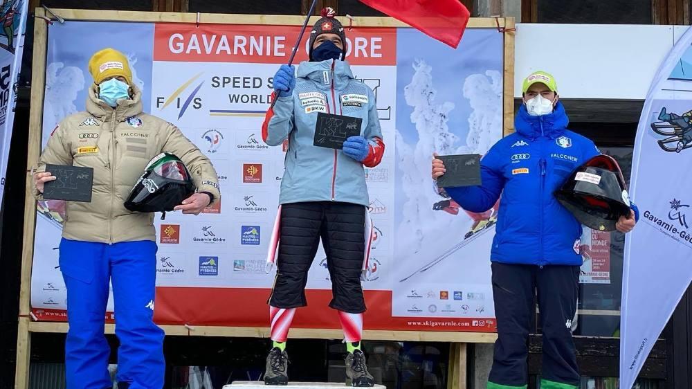 Philippe May s'est imposé devant les frères italiens Origone, légendes du ski de vitesse.