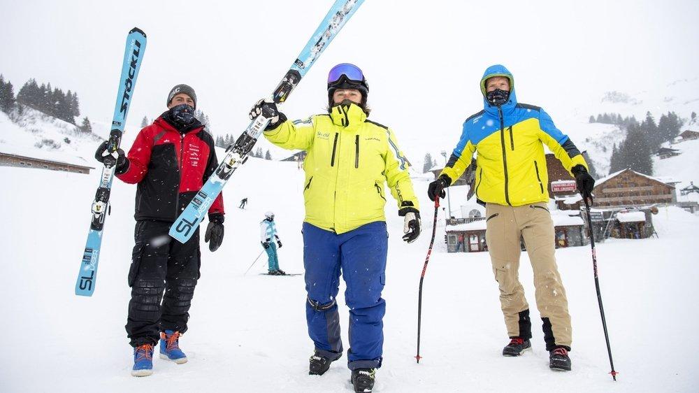 On devine un large sourire sous les masques de Fabien Tissot, Donnah Clarke et Anthony Cruz-Mermy, les responsables du centre régional de performance des Dents-du-Midi.