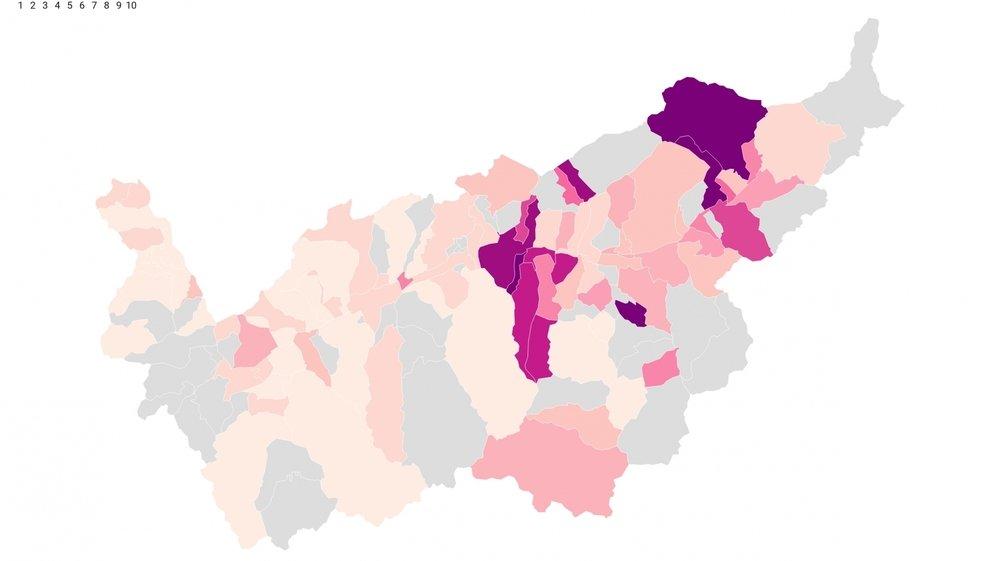 Au premier coup d'oeil, on remarque que le Haut-Valais continuait d'être la région la plus touchée par le coronavirus du 21 au 27 décembre.