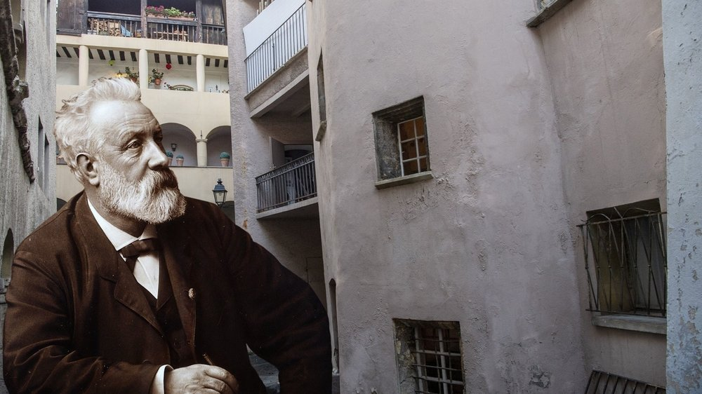 C'est dans cette maison de la rue de l'Eglise à Sion que Jules Verne aurait séjourné en 1870.