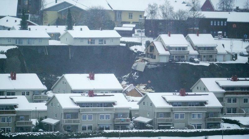 La coulée a touché 21 hectares, emportant plusieurs maisons à Gjerdrum.