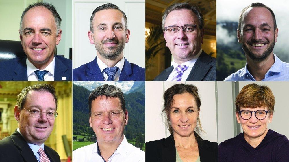 Christophe Darbellay (PDC), Frédéric Favre (PLR), Roberto Schmidt (PDC), Mathias Reynard (PS), Franz Ruppen (UDC), Serge Gaudin (PDC), Magali Di Marco (Verts), Brigitte Wolf (Verts).