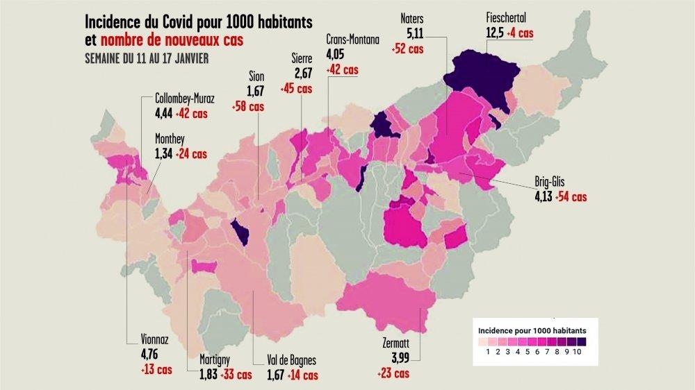 Les incidences par commune montrent le développement de plusieurs foyers dans le Valais romand.