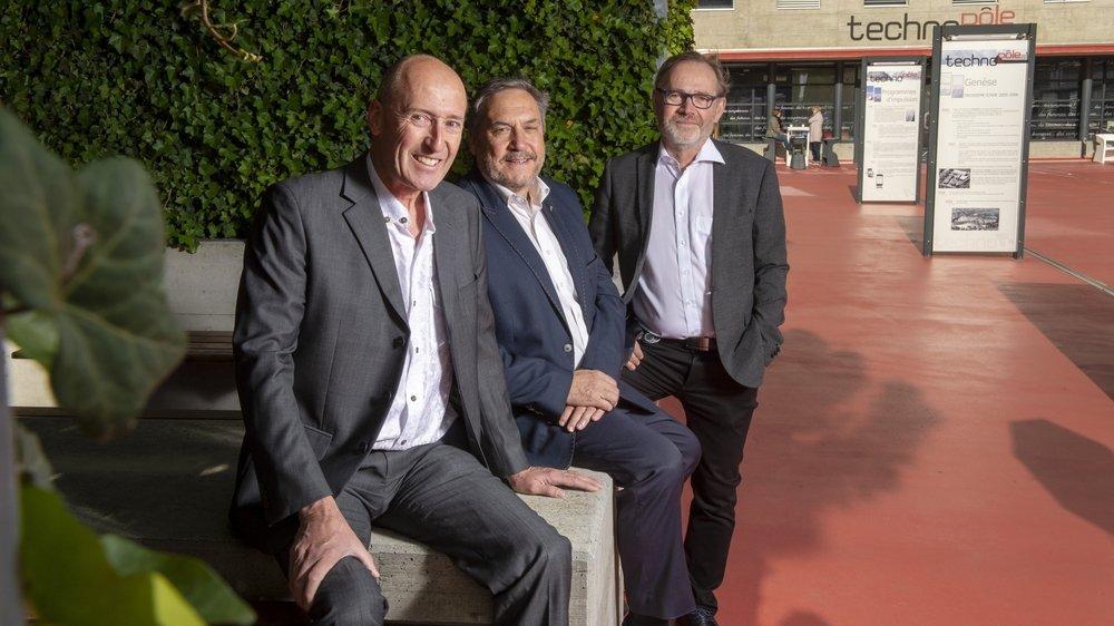 Laurent Salamin (devant), Claude-Michel Salamin et Marc-André Berclaz, les trois fondateurs du Techno-Pôle de Sierre, s'apprêtent à passer la main.
