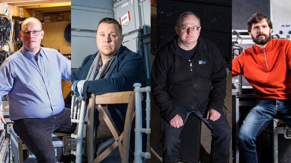 Les patrons des entreprises techniques de la culture Valentin Jacquaz (Sonoval Sàrl), Charles Martin (Noc Event), Laurent Perrier (LPS Sonorisation) et Baptiste Coutaz (Loc Light).