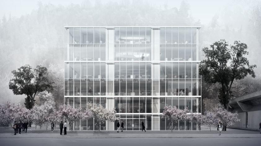 Le projet de bâtiment d'Uni à distance prévu d'être construit à Brigue.