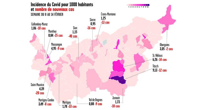 Carte de l'épidémie semaine du 8 au 14 février 2021.