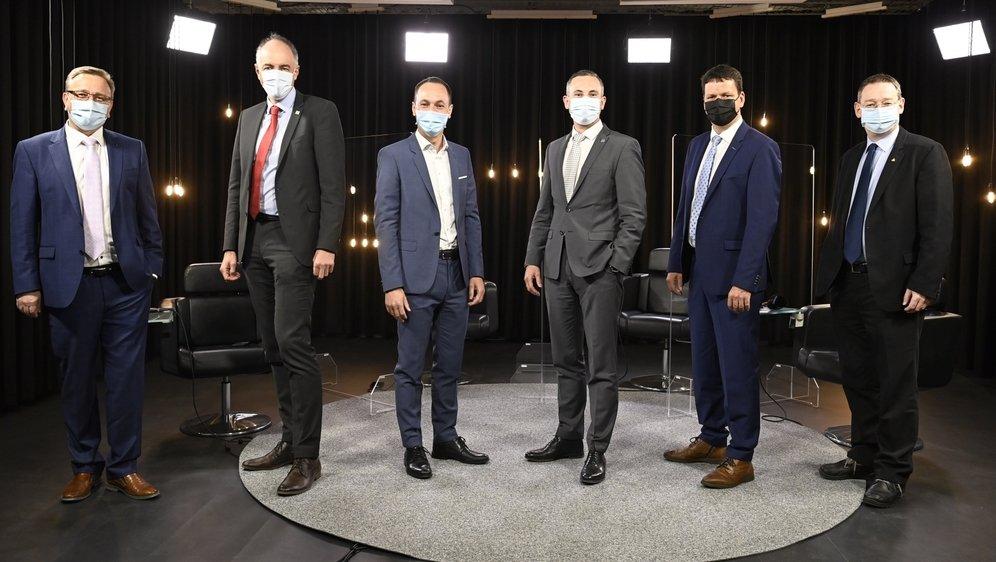 Six hommes sont candidats, mais le cinquième siège devrait se jouer entre Serge Gaudin, Frédéric Favre et Franz Ruppen.