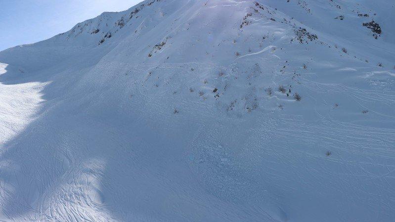 L'avalanche qui a coûté la vie à un Valaisan dimanche.