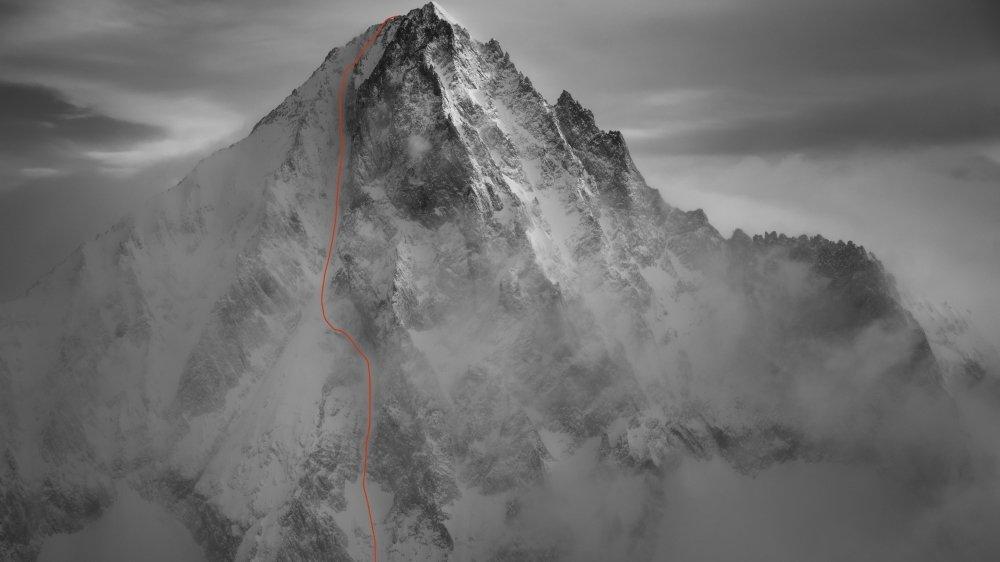 """La ligne parcourue dans la face sud-ouest du Bietschhorn et baptisée """"Merci mamans"""" par les trois skieurs."""