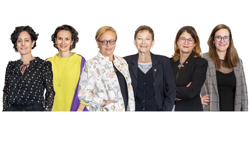 De gauche à droite, Sonia Tauss-Cornut, cheffe de groupe PLR-FDP, Céline Dessimoz, cheffe de groupe les Verts, Géraldine Arlettaz-Monnet (PLR-FDP), première vice-présidente du Grand Conseil, Doris Schmidalter-Näfen (PS du Haut), présidente de la Commission de gestion, Charlotte Aymon-Constantin (PDC), vice-présidente de la Commission de justice, Sarah Constantin cheffe de groupe PS et Gauche citoyenne.