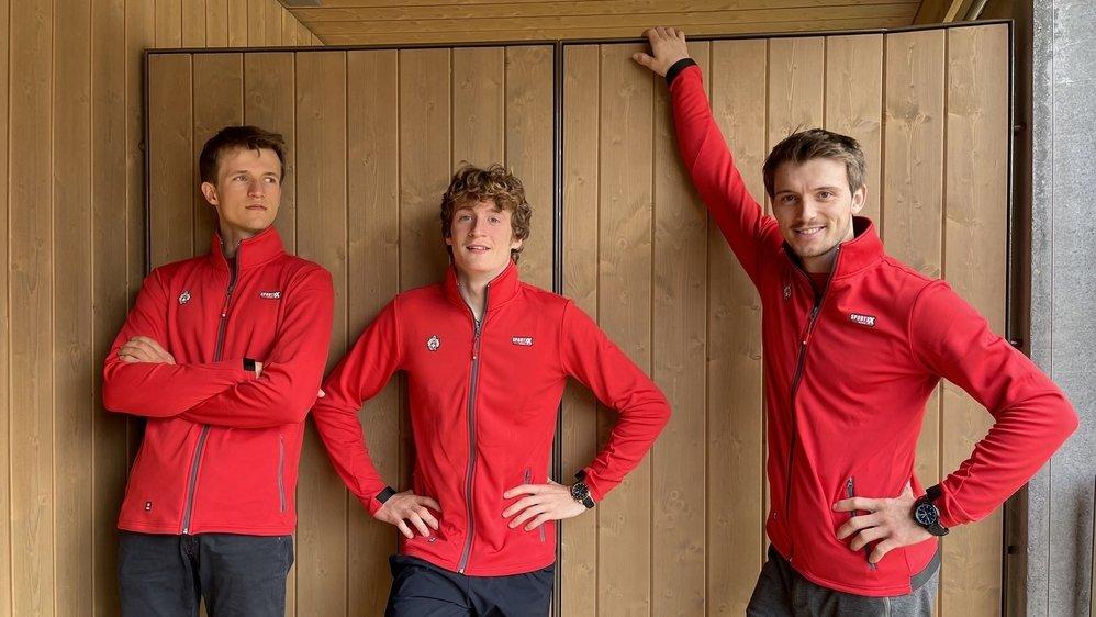 Baptiste Ometz, Dylan Chuat et Nils Favre se préparent pour la première manche de la Coupe du monde à Meiringen où se disputera une épreuve de bloc.