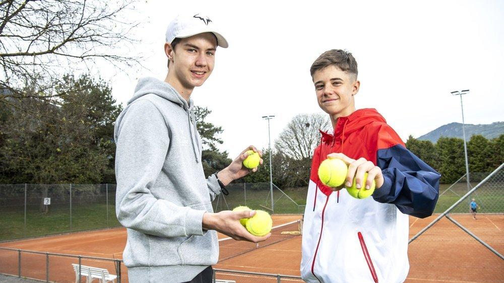 Léo Galliano et Thomas Mathys ont été associés en double pour la première fois, mardi, sur les courts du TC Sierre.