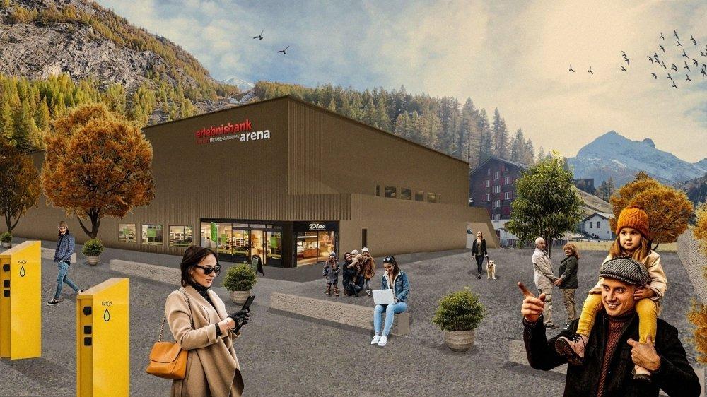 La nouvelle patinoire de Saas-Grund telle qu'elle se présentera dès l'hiver 2022.