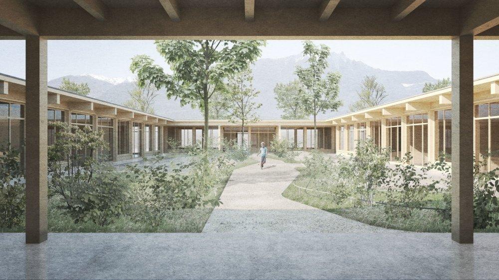 La future crèche-UAPE de Saillon, en ossature bois, sera formée de quatre bâtiments distincts entourant un jardin central réservé aux enfants.