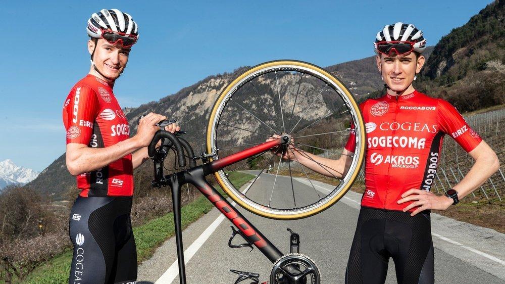 Thibault Rossier et Thomas Clapasson, les deux Valaisans de l'équipe Cogeas Cycling Team.