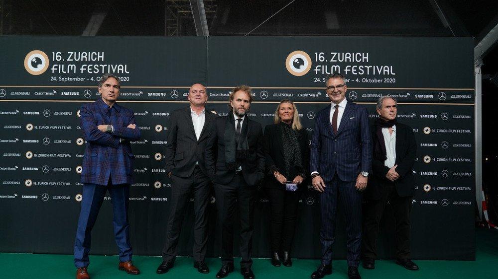 """Le financier valaisan Christophe Spadone (tout à gauche) lors de la présentation de """"The Father"""" au Zurich Film Festival en septembre 2020."""