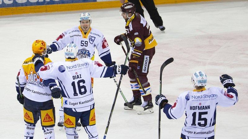 Hockey sur glace – National League: battu, Genève-Servette pousse Zoug vers le titre