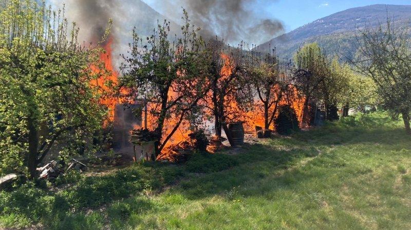 Un incendie dans les vergers de Bramois
