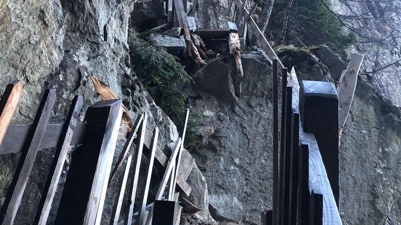 Salvan: un rocher a emporté plusieurs passerelles des gorges du Dailley