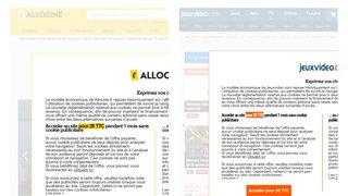 Allociné, Doctissimo, JeuxVideos.com... pourquoi des sites français demandent d'accepter les cookies ou de payer