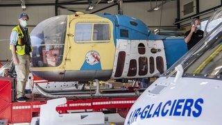 Le premier hélicoptère légende des sauvetages en altitude sur le tarmac de Sion