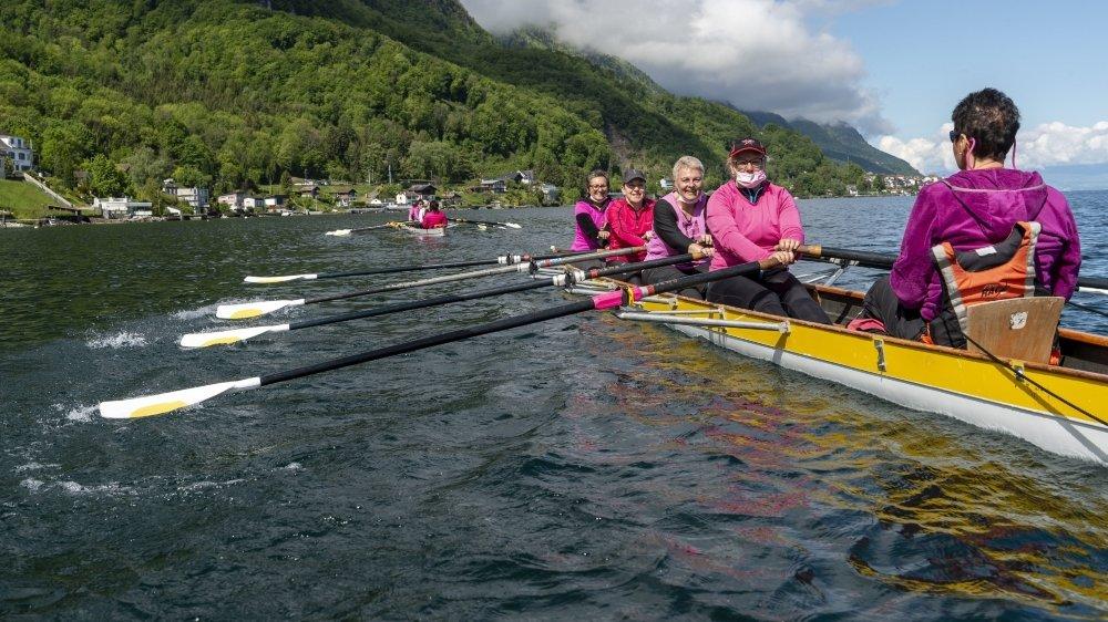 Les cours d'aviron pour les personnes atteintes du cancer du sein ont lieu chaque jeudi matin au Bouveret.