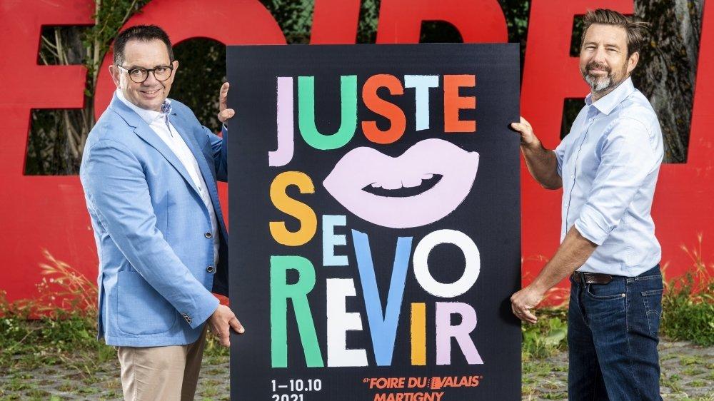"""L'édition 2021 de la Foire du Valais est lancée! """"Juste se revoir"""", le thème s'est imposé tout naturellement pour Vincent Claivaz, président du FVS Group (à gauche), et Samuel Bonvin, directeur."""