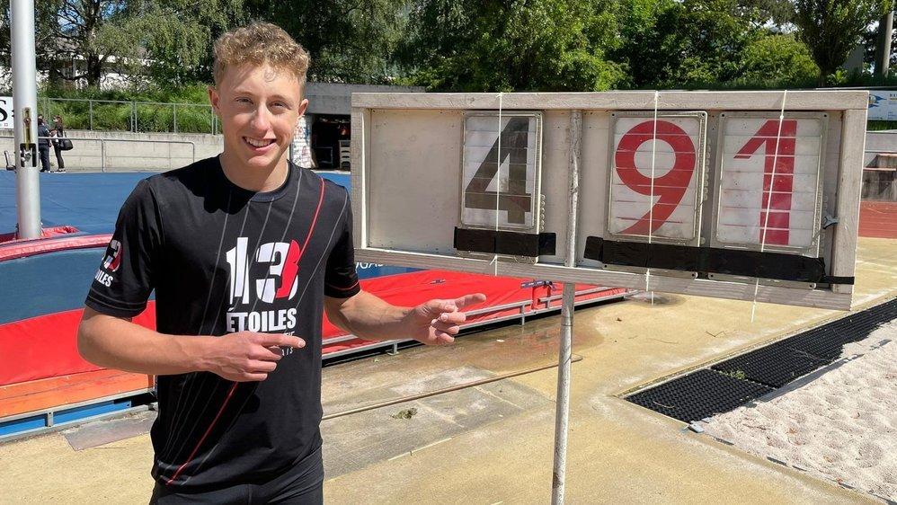 Un nouveau record valaisan à 4,91 mètres pour Justin Fournier.