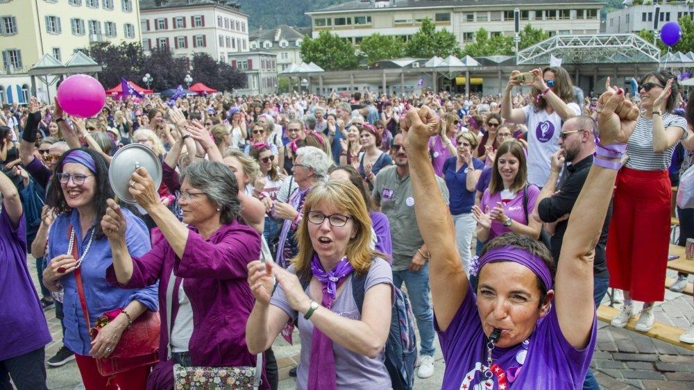 La grève des femmes de 2019 avait rassemblé plus de 12 000 personnes dans les rues de Sion.