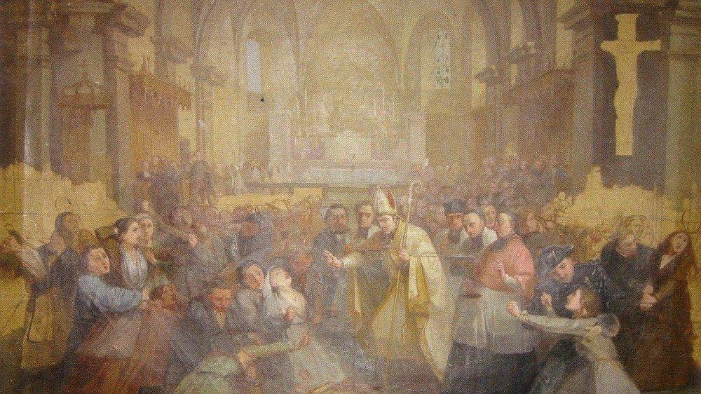 Les possédées de Morzine lors de la cérémonie de confirmation de 1864, épisode particulièrement houleux de l'événement. Tableau de Laurent Baud, artiste peintre et maire de Morzine au moment des faits.