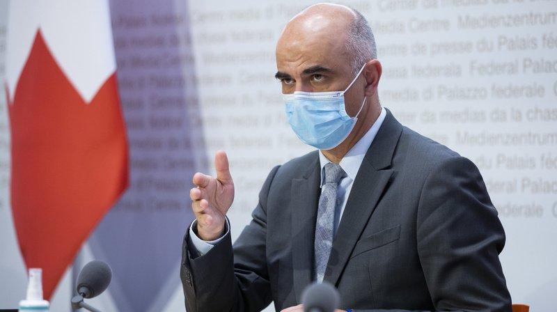 Alain Berset en conférence de presse à Berne.
