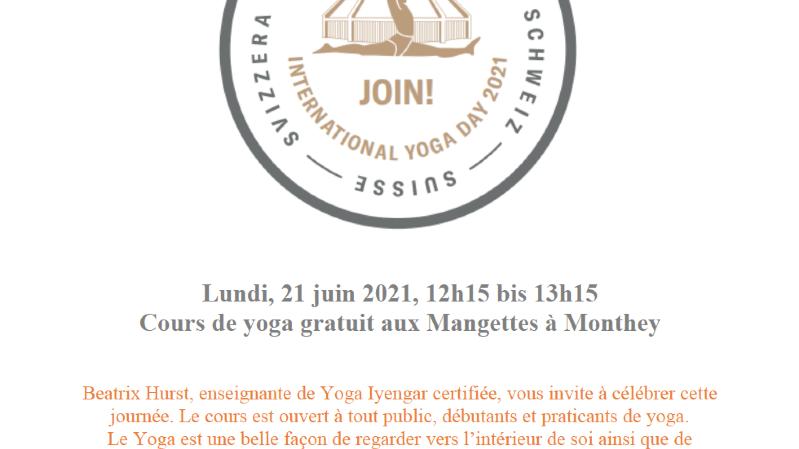 21 juin Journée international yoga: cours gratuit
