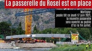 Pose de la nouvelle passerelle du Rosel à Martigny