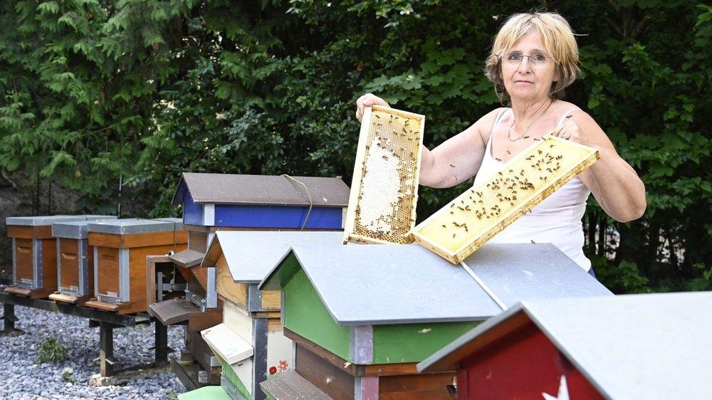 Au rucher du Guercet, certaines hausses de l'apicultrice Corinne Gabioud sont presque pleines (comme à gauche), tandis que d'autres restent vides. La récolte de miel est mauvaise à cause des fortes pluies de ces dernières semaines.