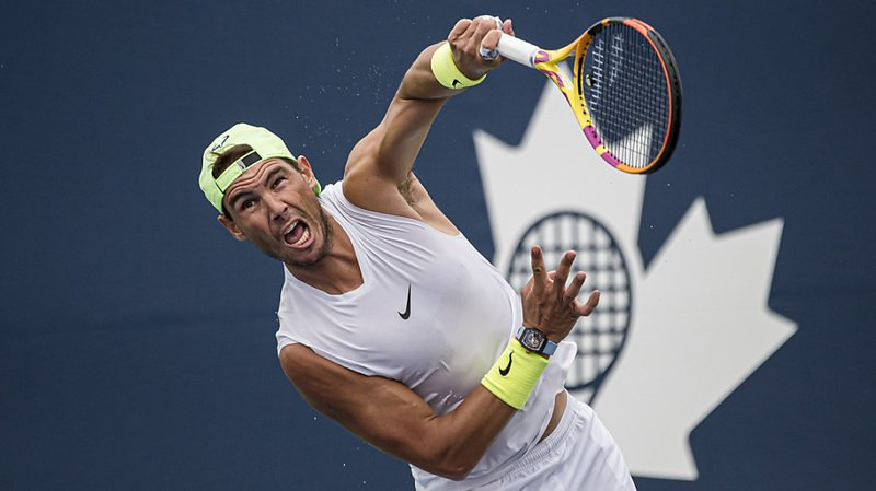 Rafael Nadal à l'entraînement mardi à Toronto.