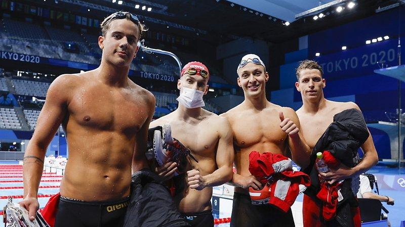 Ponti, Mityukov, Djakovic et Liess (de gauche à droite) sont en finale du 4x200 m libre