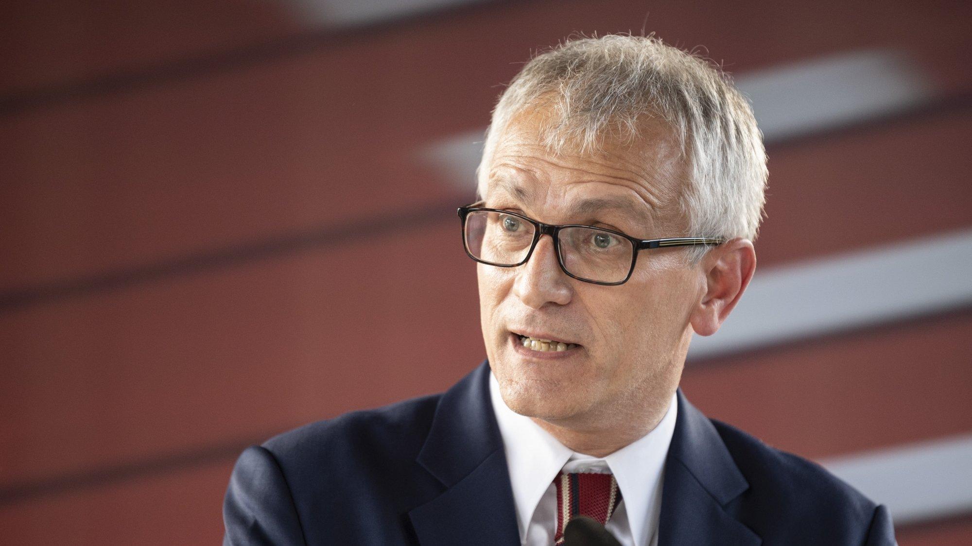 Alberto Mazzola parle du «Connecting Europe Express (CEE)» à Berne, le lundi 27 septembre.
